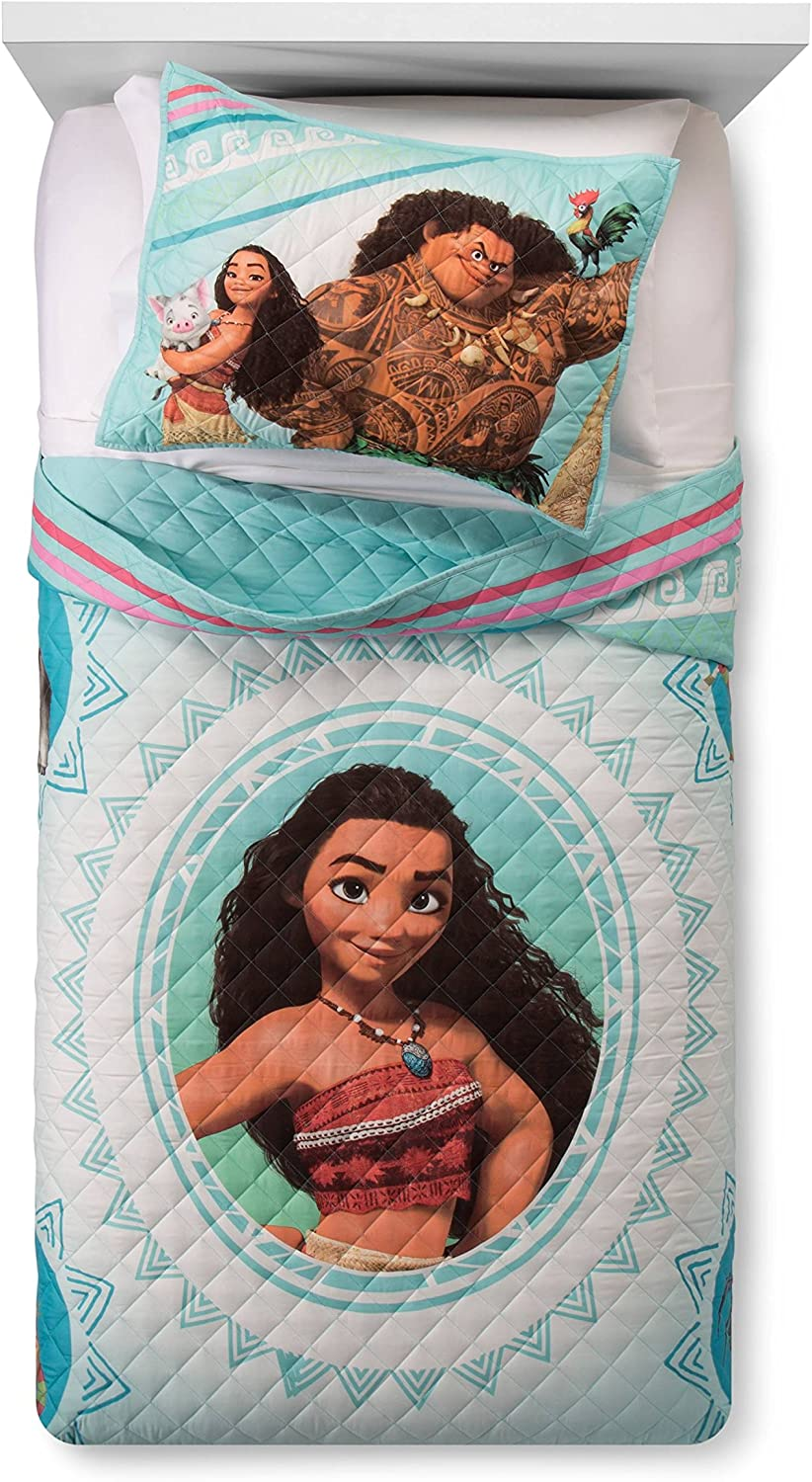 Disney Moana Wave Twin Full Quilt & Sham Set - Super Soft Kids Bedding - Fade Resistant Microfiber (Official Disney Product)