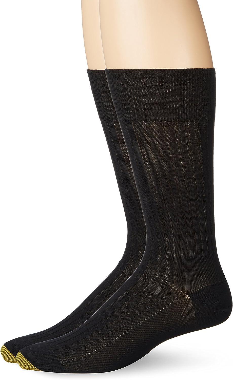 Gold Toe Men's Comfort Top Non-Elastic English Rib Crew Socks, 2-Pairs