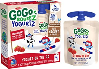 GoGo squeeZ yogurtZ, Strawberry, 3 Ounce (4 Pouches), Low Fat Yogurt, Gluten Free, Pantry-friendly, Recloseable, BPA Free Pouches
