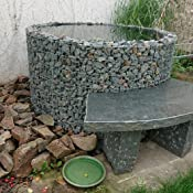 Gabione Wasserfass Ø 130//110 cm H 80cm inkl Teichfolie Brunnen Steinkorb Garten