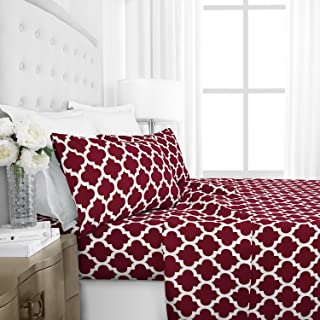Italian Luxury 1800 Series Hotel Collection Quatrefoil Pattern Bed Sheet Set - Deep Pockets, Wrinkle and Fade Resistant, Hypoallergenic Printed Sheet and Pillow Case Set -Queen - Burgundy