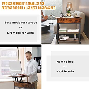ORGXpert Lift Top End Table with Charging Station, Mobilizable Narrow Side Table with Storage Shelf and USB Ports & Power