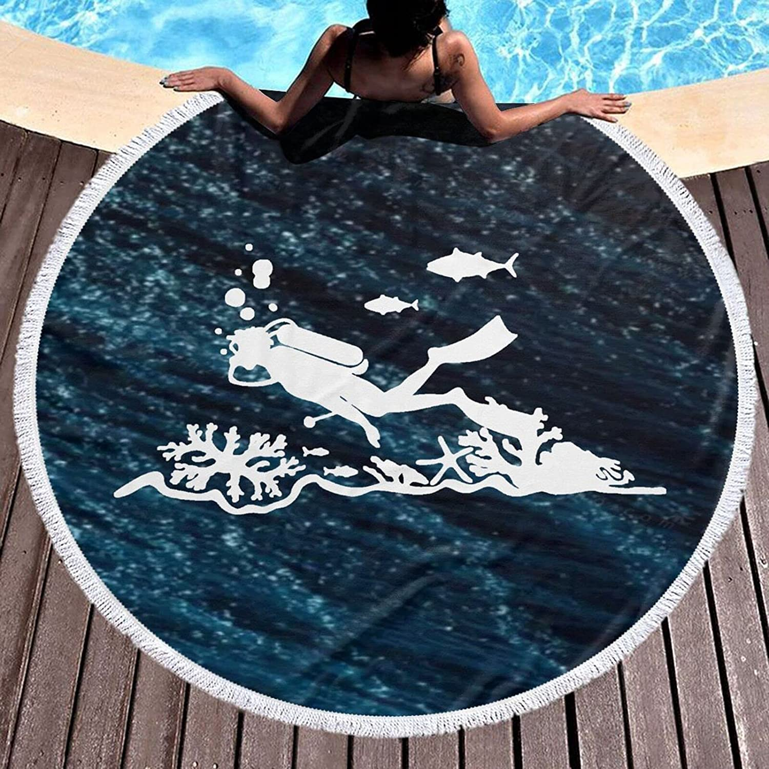 Coolest Diving Extreme Adventure Sea 59 Round Beach Bargain Sports Towel Low price