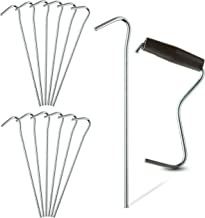 """TARPATOP Galvanized 7"""" Tent Pegs – Set of 12 Anchoring Stakes - 1 Peg Puller – Accessory Tool for Hikers, Campers and Farmers – Great to Use for Outdoor Canopies, Gardening, Beach Shades, and Tarps"""