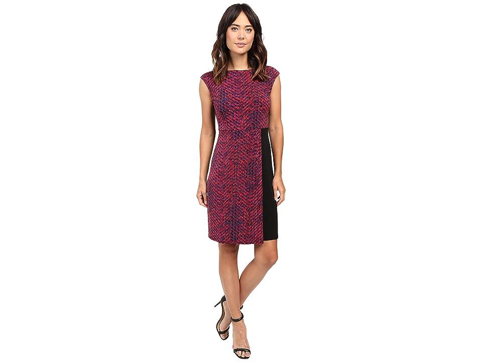 Ellen Tracy Cap Sleeve Knit Dress (Chevron Multi) Women