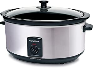 Morphy Richards Ovaler Slow Cooker Olla de cocción lenta, 6.5 litros, cerámica, acero inoxidable
