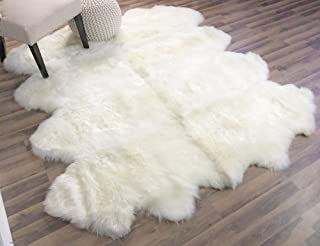 Genuine Super-Soft Sheepskin Rug Large Eight Pelt Natural Non-Dyed Fur, Approx. 6ft. x 7ft.