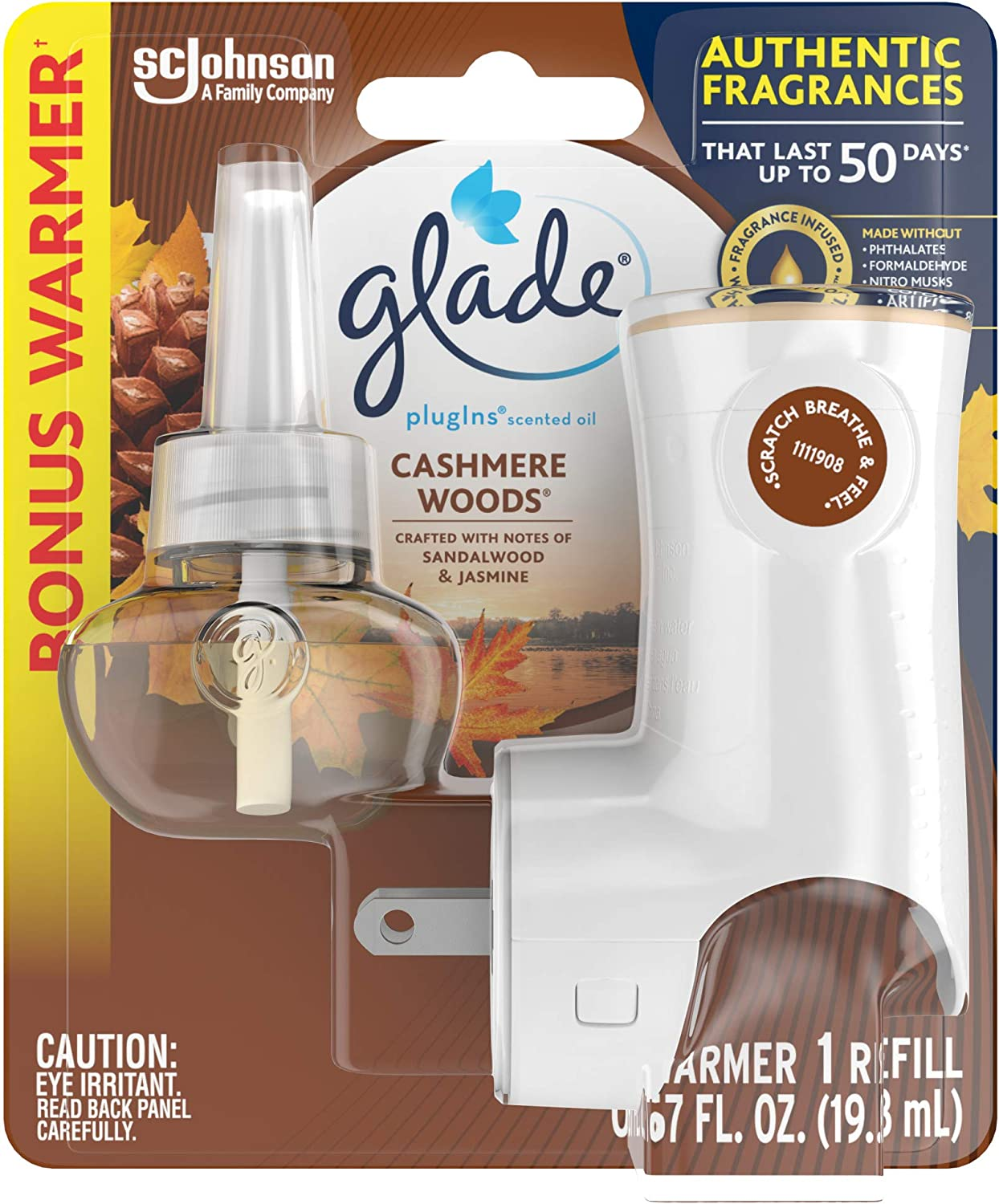 Glade PlugIns Refills Air Freshener Starter Kit, Scented Oil for Home and Bathroom, Cashmere Woods, 0.67 Fl Oz, 1 Warmer + 1 Refill
