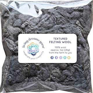 Textured Felting Wool. Corriedale Fiber Includes Curly Locks for Needle Felting, Spinning, Doll Hair and Waldorf Crafts - Slate