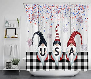 Sponsored Ad - Rustic Independence Day 4th of July Shower Curtain,Wood Board American Flag with Gnome Bathroom Shower Curt...