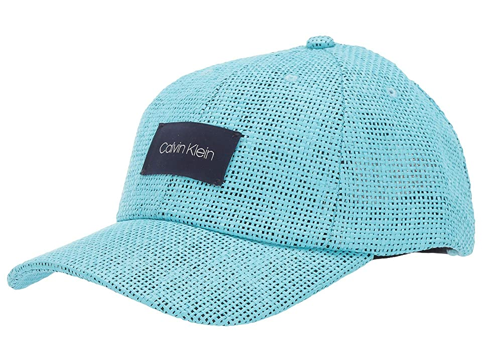 Calvin Klein Straw Baseball Hat w/ Logo Patch (Seaport) Caps, Blue