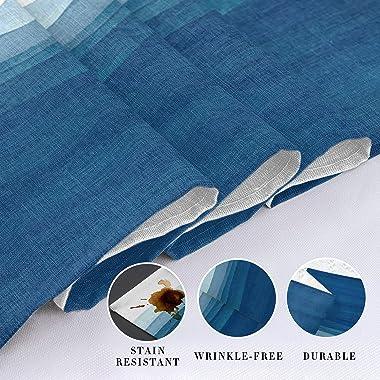 Vandarllin Blue White Table Runner, Non-Slip Dining Table Runners for Kitchen, Ombre Ocean Wave Coffee Table Runners Dresser