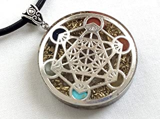 Orgone energy pendant necklace with silver Metatron's cube and seven chakra healing stones. EMF protection. Made in USA