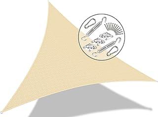 VOUNOT Voile d'ombrage Triangle avec Le Kit de Fixation | Matière résistante aéré 100% Nouveau HDPE-180g/m2 | Bloque 90% R...