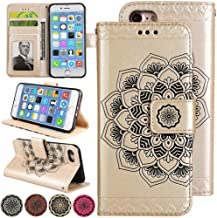 iPhone 5s Flip Case, iPhone 5 Leather Case, [Kickstand][Cards Holds Slots] 3D Flower Folio Magnet Wallet Case Cover for Apple iPhone5s and iPhone5 (Gold)