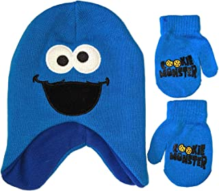 Sesame Street Big Face Beanie Winter Hat and Mittens Cold Weather Set (Cookie Monster, Age 2-4)