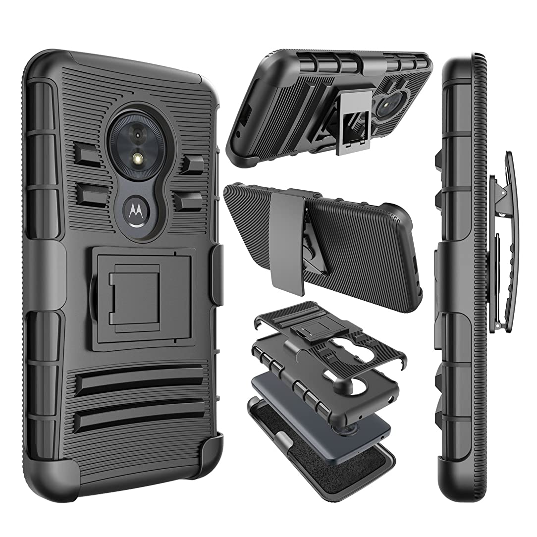 Njjex Moto G6 Play Case, for Moto G6 Forge Case, [Ngate] Armor Shockproof Locking Holster Swivel Belt Clip Kickstand Heavy Duty Defender Full Body Carrying Phone Cover for Motorola G6 Play [Black]