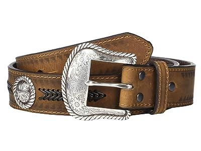 Ariat Aztec Edge w/ Arrow Lacing Belt (Medium Brown) Men