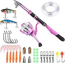 PLUSINNO Ladies Telescopic Fishing Rod and Reel Combos,Spinning Fishing Pole Pink Designed for Ladies Fishing Girls Fishing Pole
