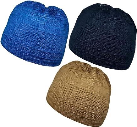 ae873c4e3e8 Al-Ameen Pack 3 Color Muslim Knit Cap Amn026 Kufi Topi Islam Hat Crochet  Takke