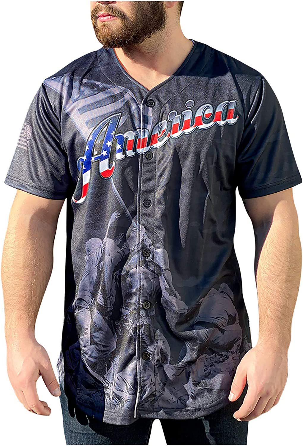 Unisex Men Women Vneck Button Down Shirts Short Sleeve Independence Day Printed Pattern Cardigan Casual Henley Tshirt
