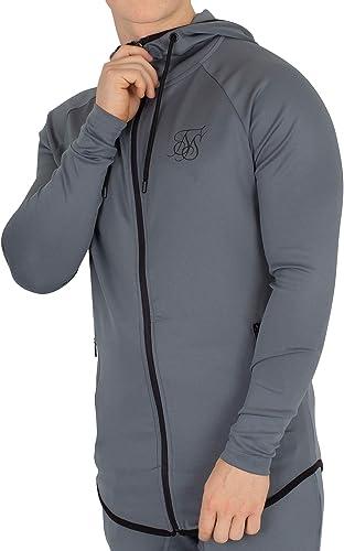 Sik Silk Homme Sweat à Capuche zippé athlète, gris