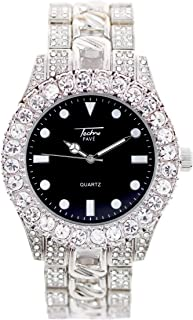 Mens 44mm Solitaire Bezel and Black Dial Silver Watch with Metal Band Strap (Resizable Links) - Quartz Movement
