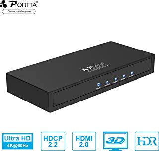 Portta HDMI Splitter 4k@60Hz 1 in 4 out 4K HDR HDMI Splitter 4 Way Powered HDMI V2.0 Splitter 1x4 Amplifier Distributor Su...