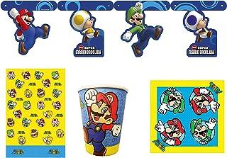 Nintendo Super Mario Bros 4 Piece Party Set - Plates, Paper Cups, Napkins & Table Cover