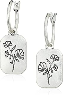 Lucky Brand Floral Tag Hoop Earrings, Silver, One Size (JWEL4759)