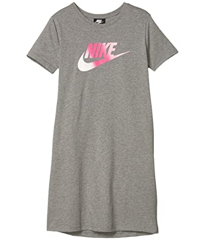 Nike Kids NSW Futura T-Shirt Dress (Little Kids/Big Kids) (Carbon Heather/Pink) Girl
