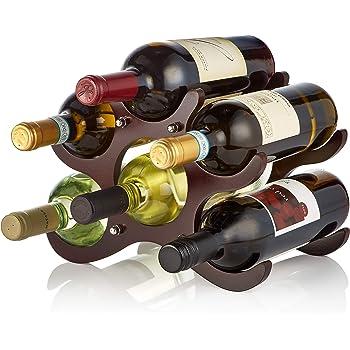 AdirHome Wooden Wine Rack - 6 Bottle (Cherry)