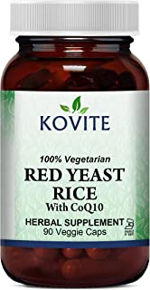 Kovite Red Yeast Rice with CoQ10 100% Vegetarian and Kosher - 90 Vegetable Capsules - Cardiovascular Formula Contains 600 ...