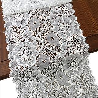 قماش الدانتيل المرن بعرض 17.78 سم من LaceRealm للملابس وإمدادات الحرف اليدوية - 5 ياردة (7020 أبيض)