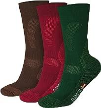 Merino Wool Hiking & Trekking Socks (Multicolor: Brown, Red, Green 3 Pairs, US Women 11-13 // US Men 9.5-12.5)