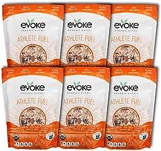 Evoke Organic Muesli, Athlete Fuel - Pack of 6 - No Added Sugar, Enjoy cold or hot! Overnight Oats!