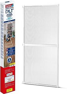 tesa Insect Stop Vouwdeur - opvouwbaar aluminium frame met vliegengaas voor deuren - met verstelbaar telescoopframe - wit...