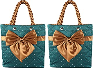 Heart Home Satin 2 Pieces Women Hand Bag (Green) - CTHH10333