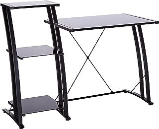 Sauder Deco Tiered Desk, Black/Black Glass