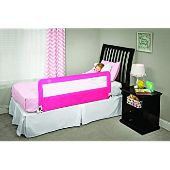 Regalo Hideaway 54-Inch Extra Long Bed Rail Guard, with Reinforced Anchor Safety System, Pink