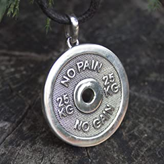 No Pain No Gain Pendant Gym Necklace Solid Quality 925 Sterling Silver Handmade Bodybuilding Weight Plate Dumbbell Medallion Fitness Powerlifting Gifts for Men