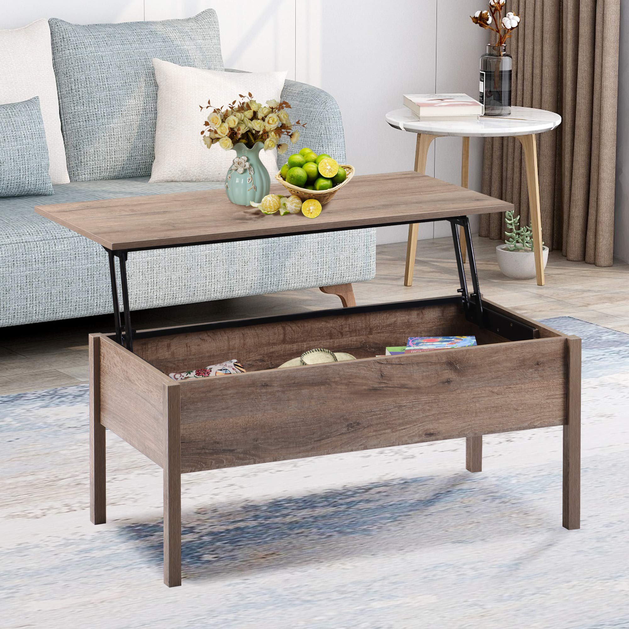 Lift Top Coffee Table With Storage Wood Cocktail Table Living Room Table With Hidden Storage Compartment And Lift Tabletop For Living Room Oak Buy Online In Bahrain At Desertcart