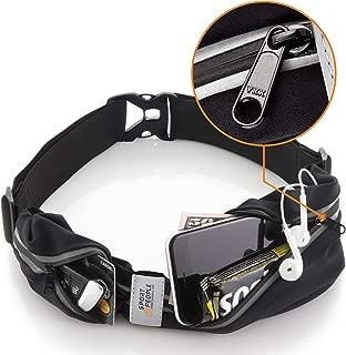 Sport2People Premium 2 Pocket Running Pouch Belt with YKK Zipper,  Reflective Runner Waist Pack Holder for iPhone X 6 7 8 10
