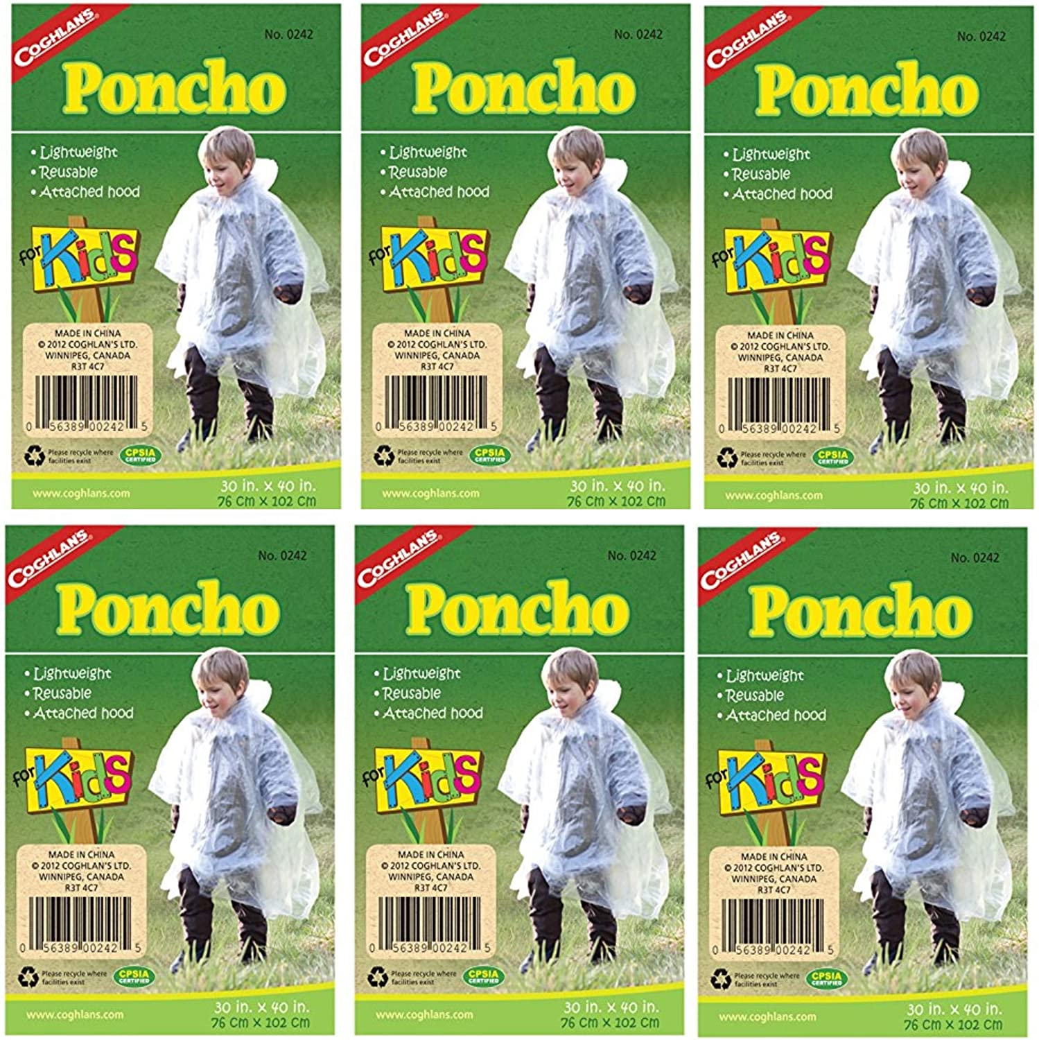 Coghlan's Poncho El Paso Super sale Mall for Kids Pack 6 of