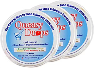 Three Lollies Queasy Drops | Assorted for Nausea Relief |Green Tea with Lemon | Ginger | Banana | Sour Raspberry | Cola |3 Containers | 21 Drops Per Container