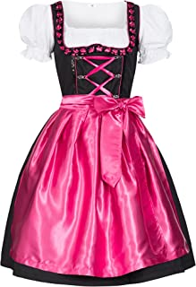 Gaudi-Leathers Damen Dirndl Kleid Dirndlkleid Trachtenkleid Midi Iwona Pink