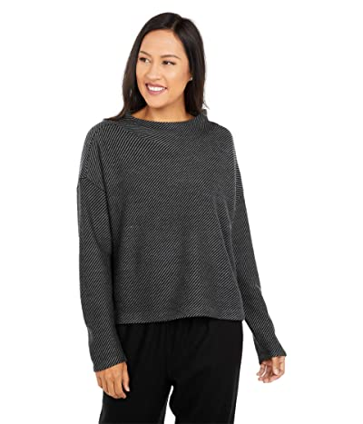 Eileen Fisher Funnel Neck Box Top (Black/Ash) Women