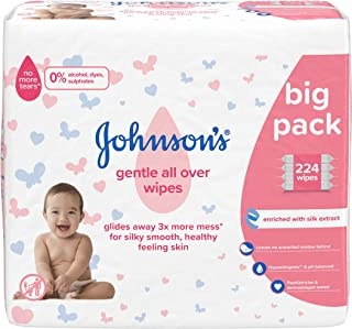 JOHNSON'S Gentle All Over Wipes – 224 ct (56x4) – Enriched with Silk Extract – pH Balanced for Delicate Skin
