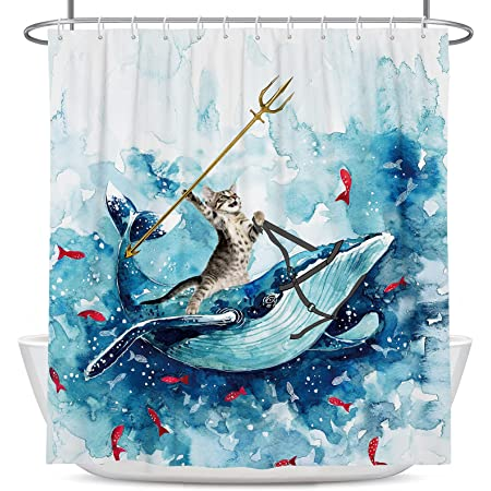 Coxila Funny Cat Shower Curtain 60x72 inch Cute Animal Riding Whale Ocean Wave Fish Hilarious Bathroom Curtain Polyester Fabric Waterproof 12 Pack Hooks