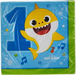 1st Birthday Lunch Napkins featuring Baby Shark, 16pcs